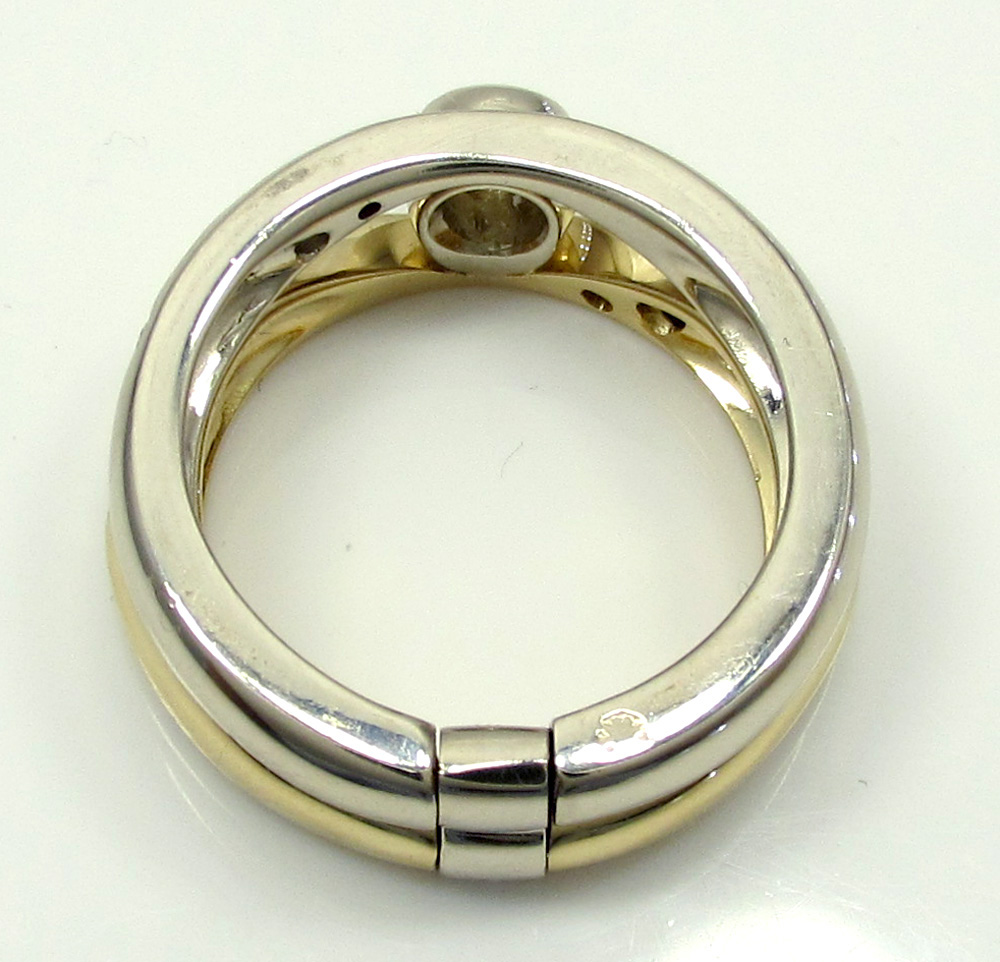 Baraka 18k two tone gold diamond band 0.38ct