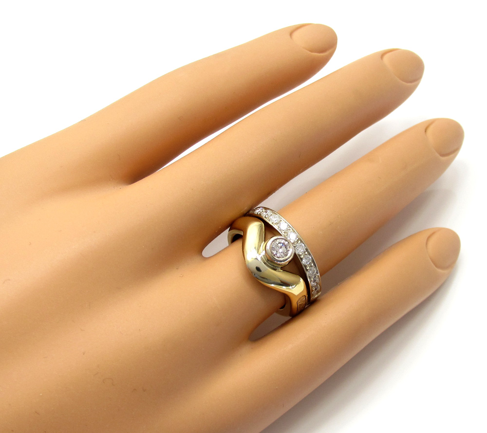 Baraka 18k two tone gold diamond band 0.61ct