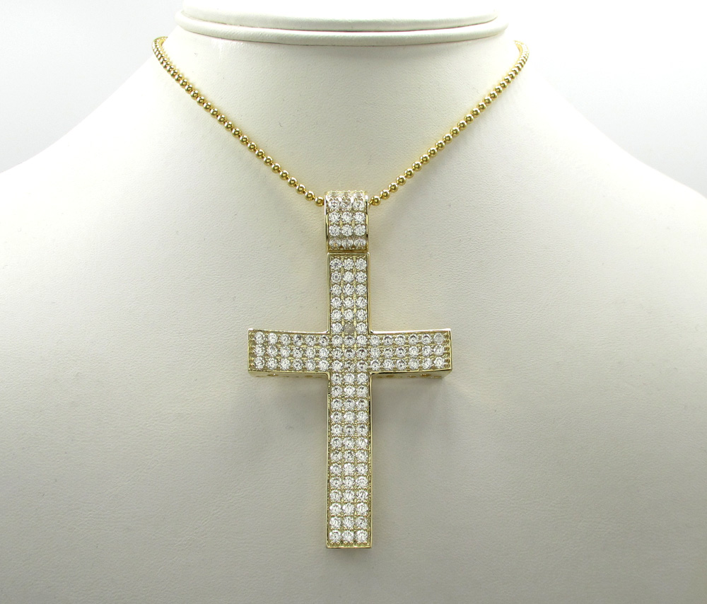10k yellow gold large cz concave solid frame cross 4.00ct