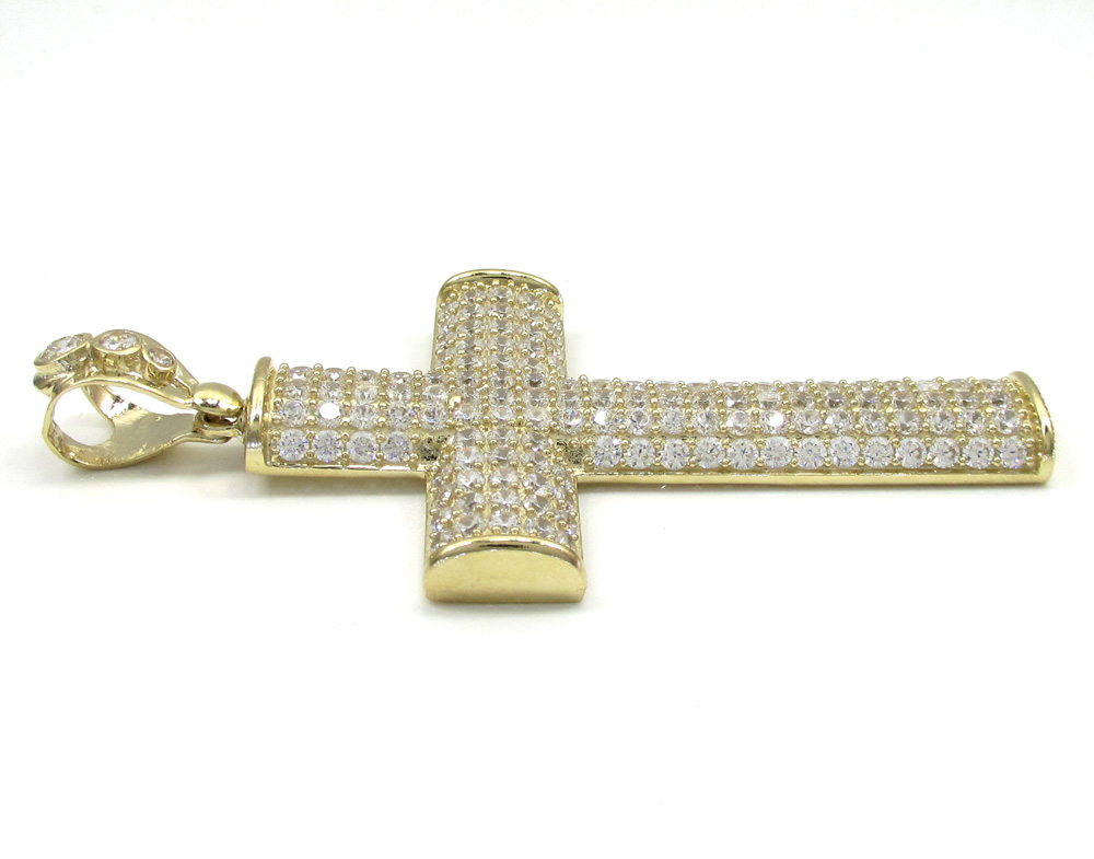 10k yellow gold large cz solid dome frame cross 4.00ct