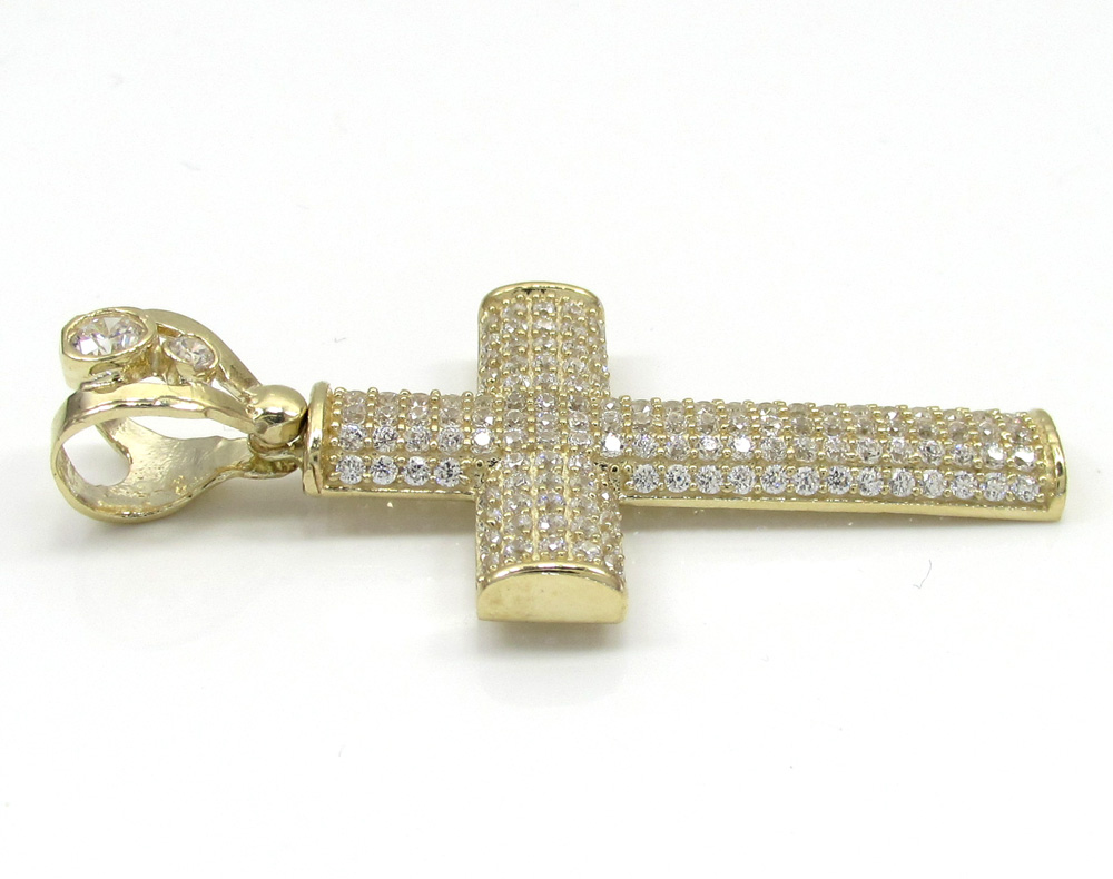 10k yellow gold small cz solid dome frame cross 2.00ct