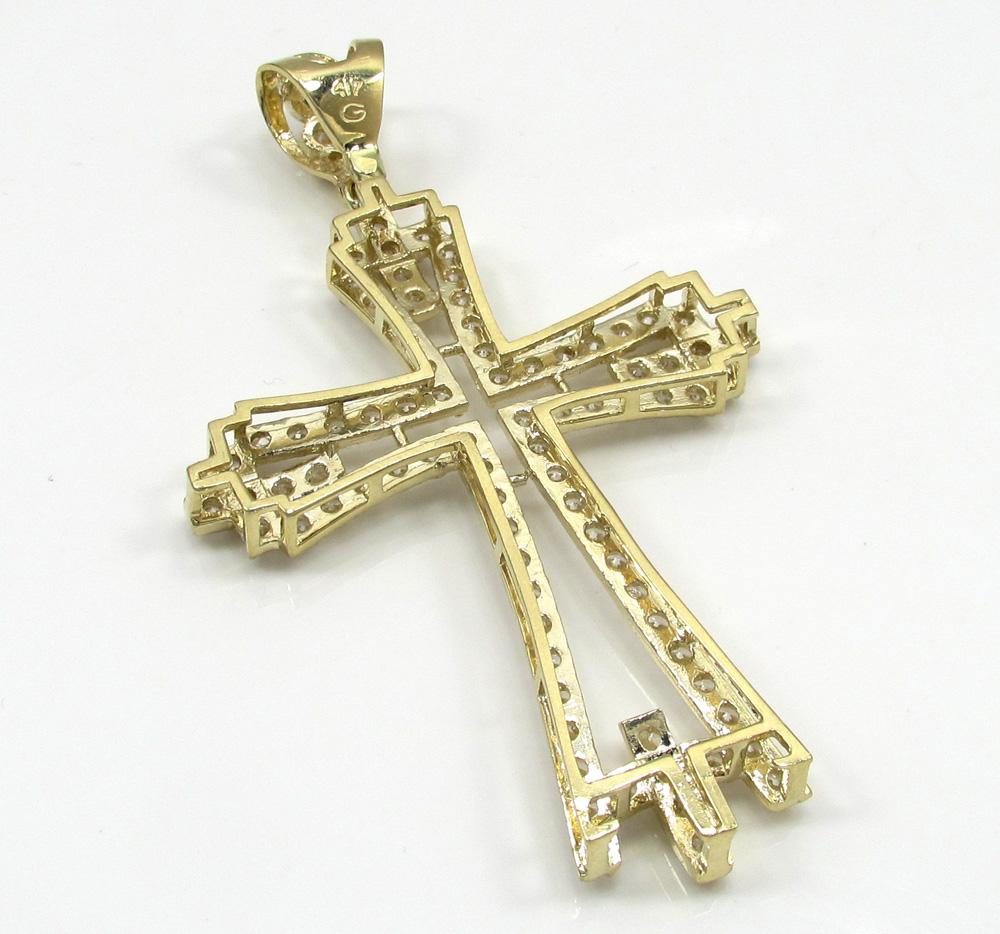 10k yellow gold large cz fancy cross 4.00ct