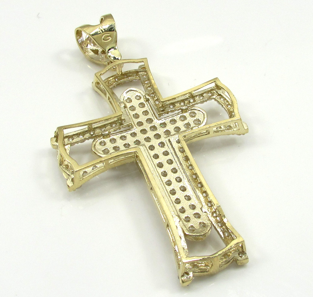 10k yellow gold medium double cross 3.00ct