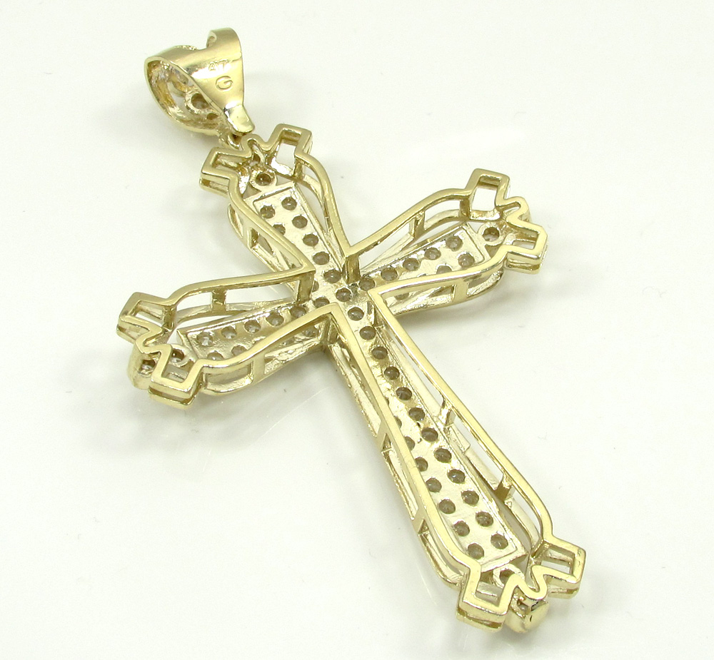 10k yellow gold large fancy cross 4.00ct
