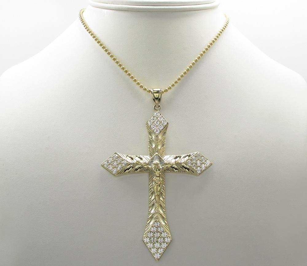 10k yellow gold medium diamond cut jesus cross 2.00ct