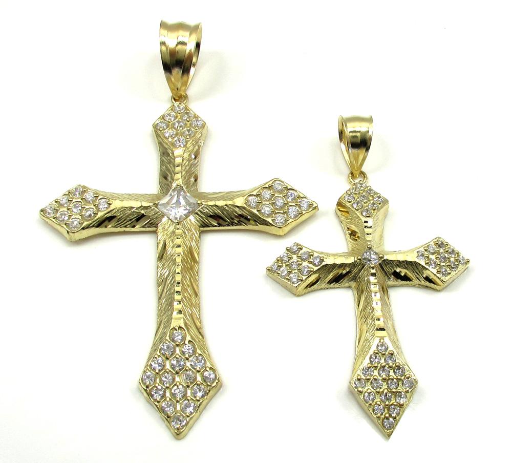 10k yellow gold medium diamond cut cross 1.50ct