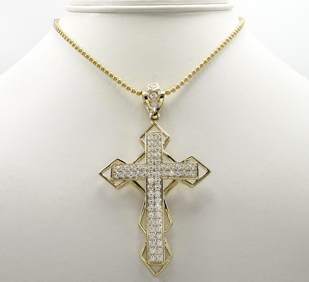 10k yellow gold large diamond 3d jesus cross 2.50ct