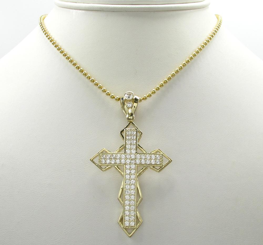 10k yellow gold medium diamond 3d jesus cross 2.00ct