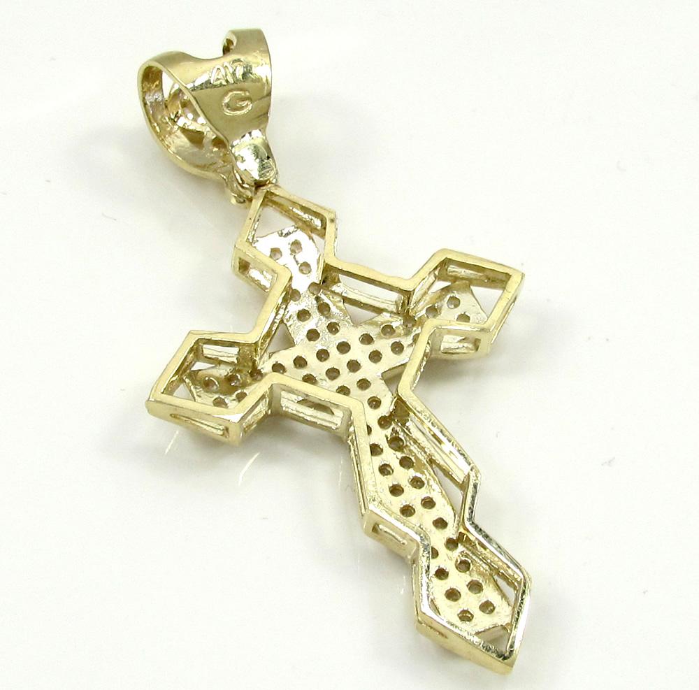 10k yellow gold small diamond 3d jesus cross 1.50ct