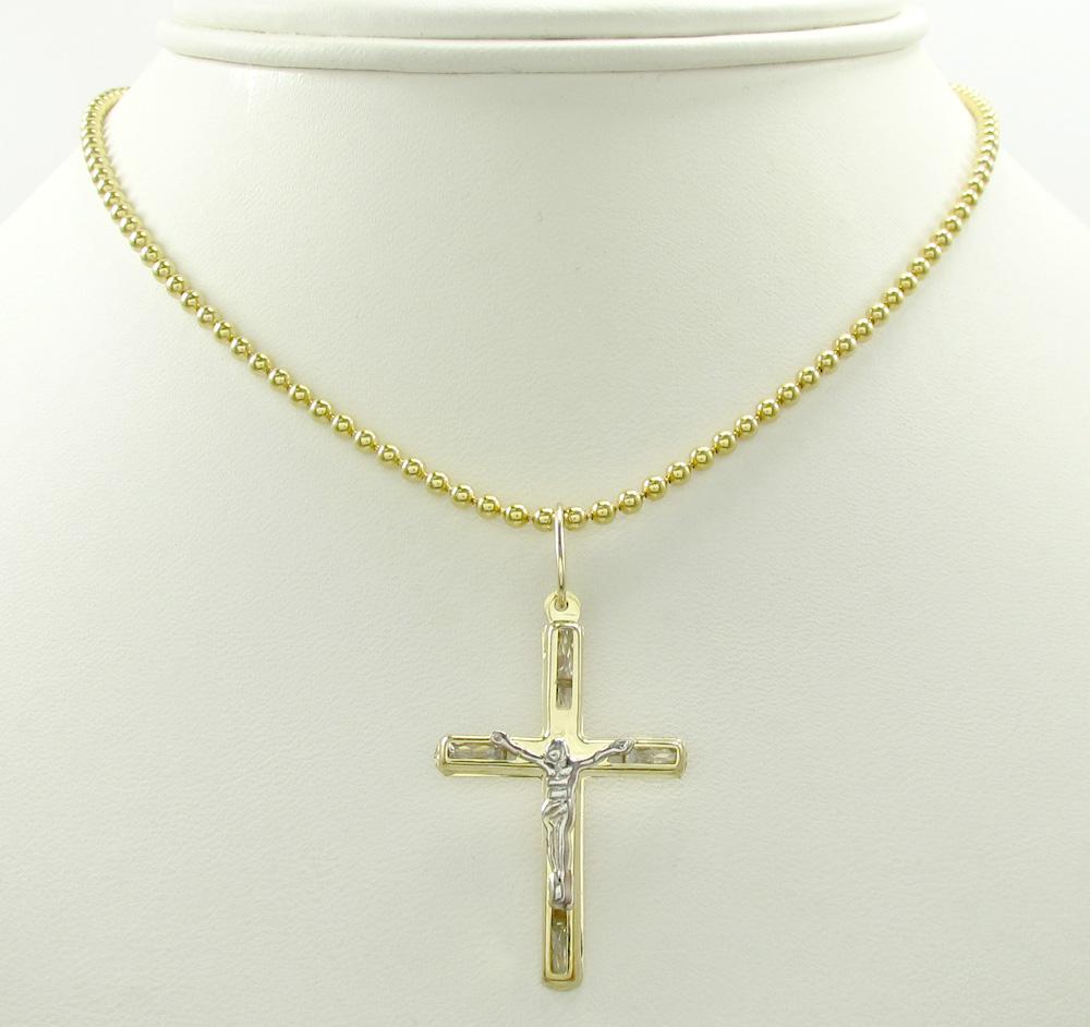 10k yellow gold small cz jesus cross 0.25ct