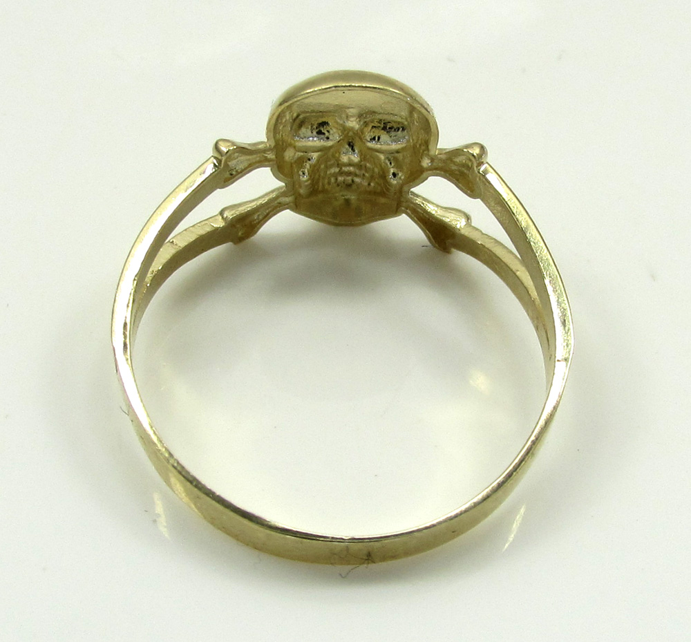 10k yellow gold skeleton head ring