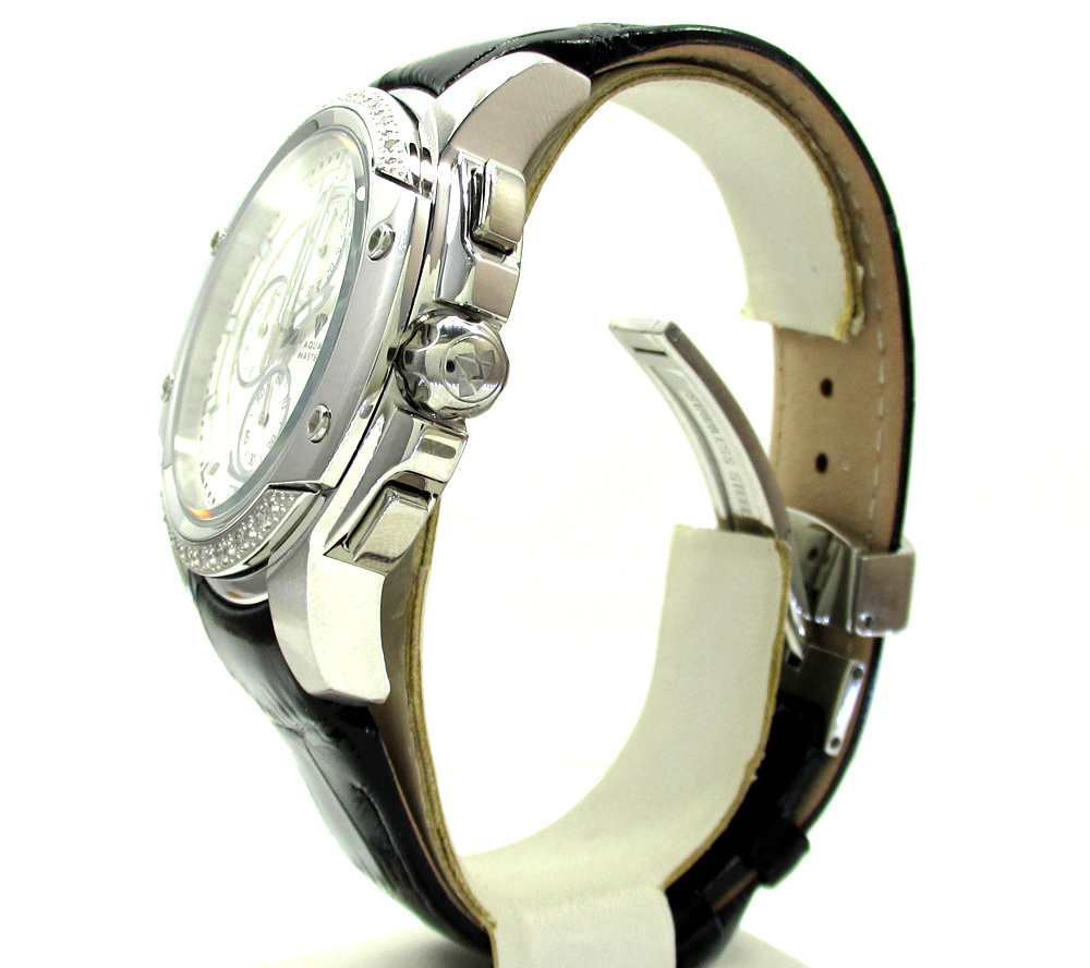 Mens aqua master white stainless steel diamond watch 0.12ct