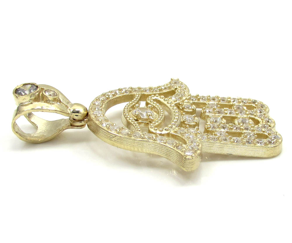 10k yellow gold cz hamsa pendant 1.40ct