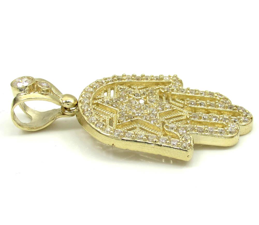 10k yellow gold cz star of david hamsa pendant 2.00ct