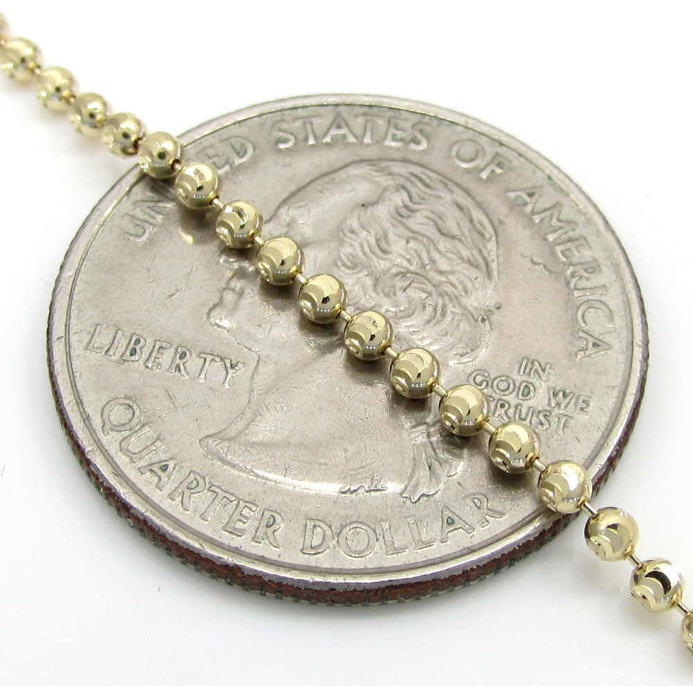14k gold moon cut bead chain 18-30 inch 2mm