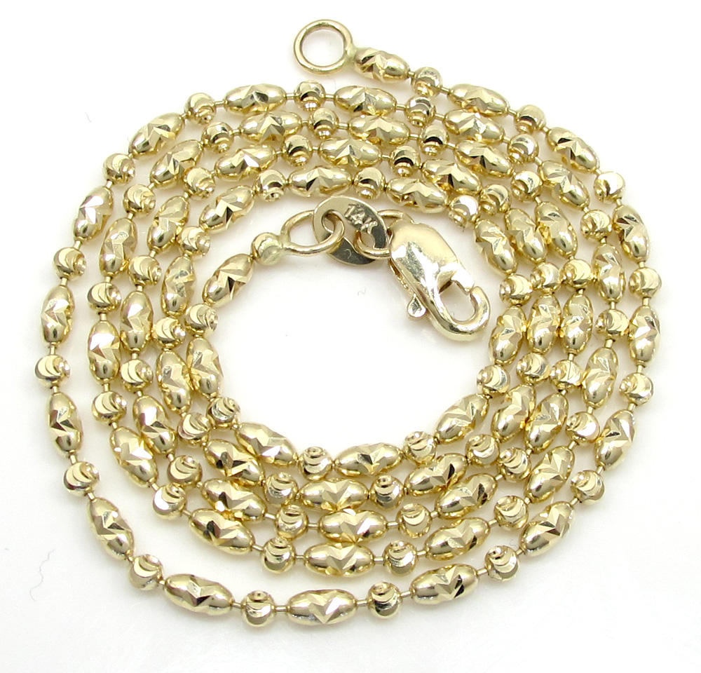 14k gold yellow gold diamond cut oval bead chain 16-20 inch 1.8mm
