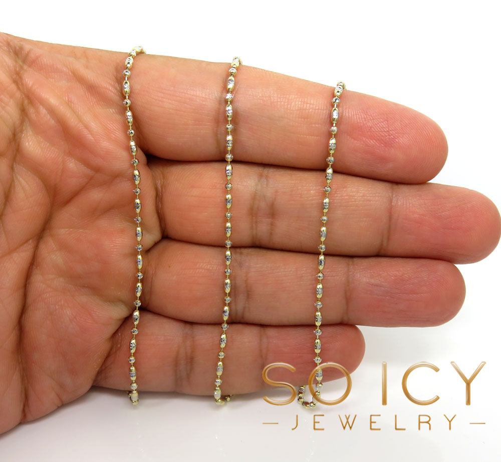 14k gold two tone gold diamond cut oval bead chain 16-20 inch 1.8mm