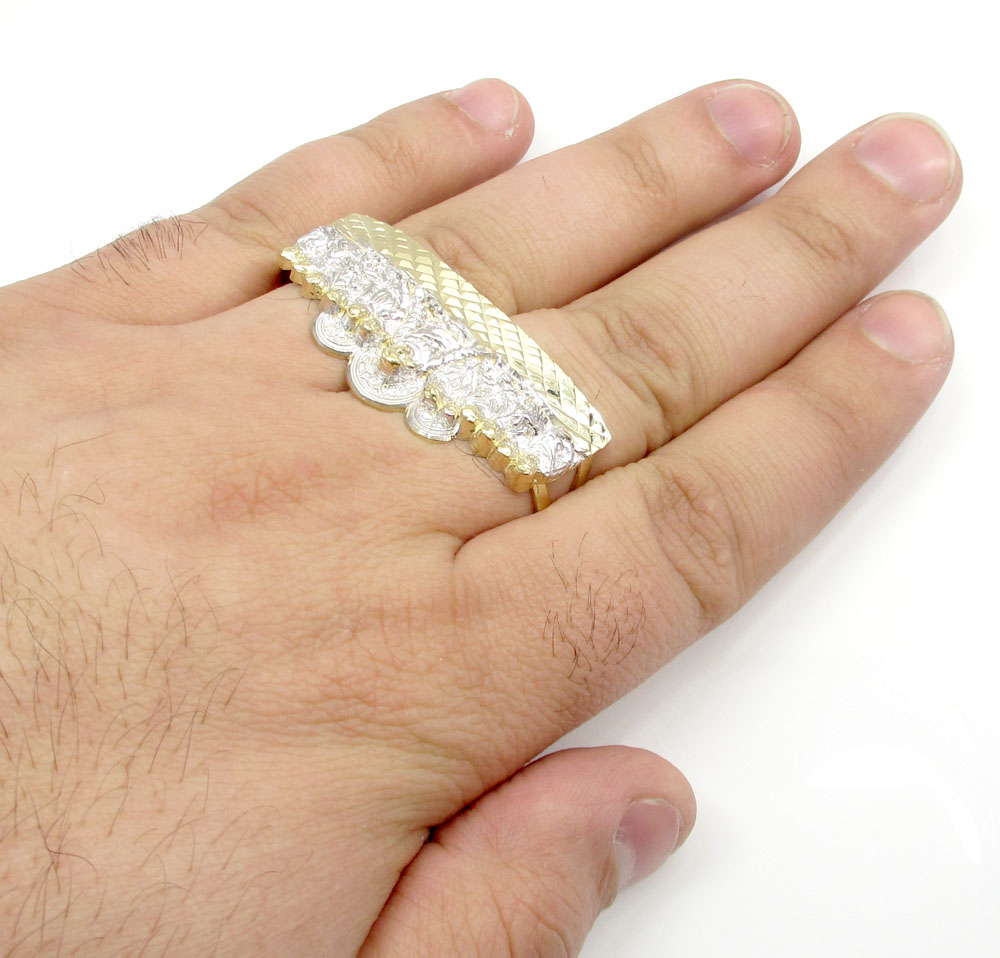 10k yellow gold jesus and the twelve disciples two finger ring
