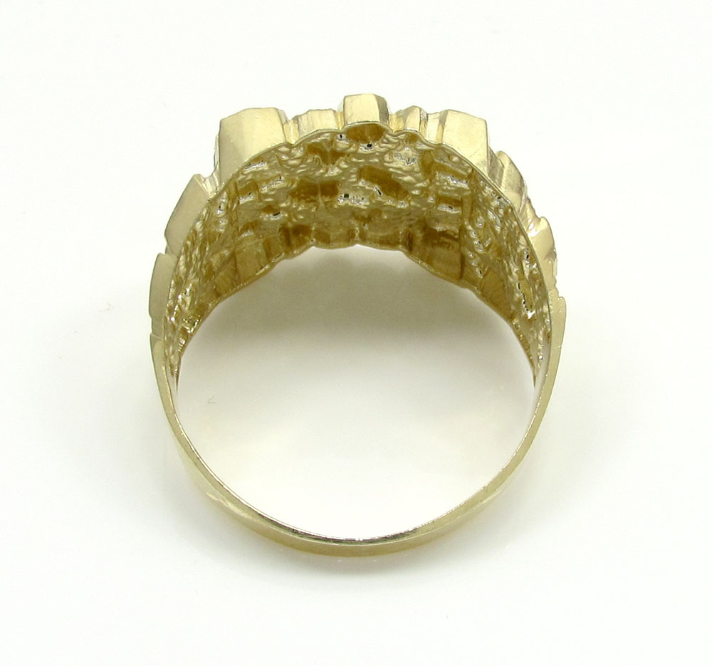 Mens 10k yellow gold medium square nugget ring