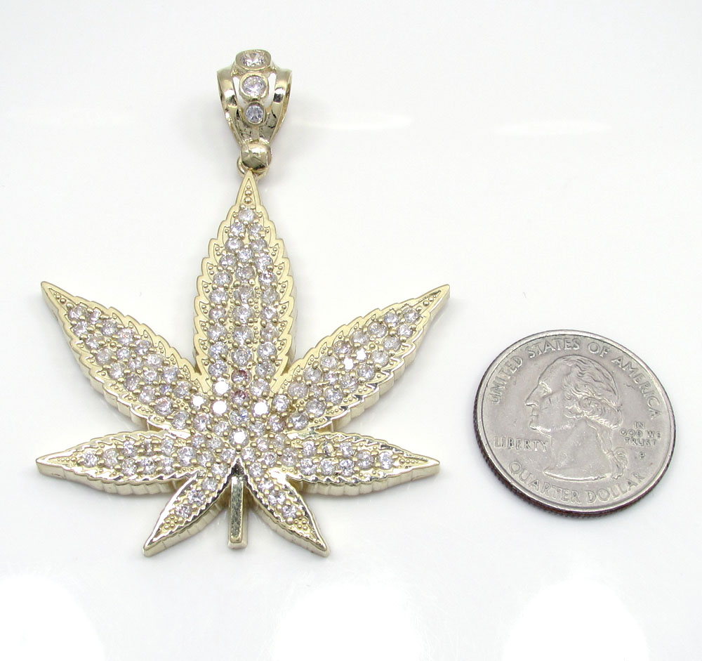 10k solid yellow gold large cz marijuana leaf pendant 3.25ct