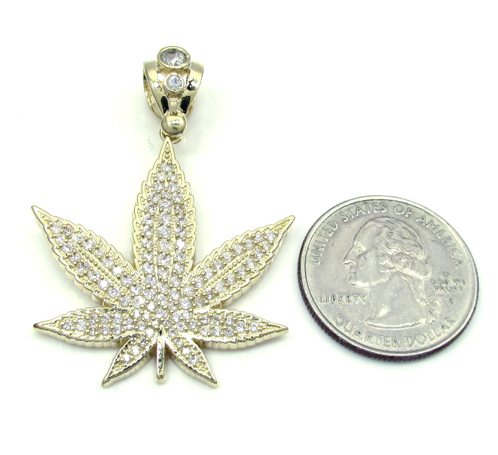10k solid yellow gold medium cz marijuana leaf pendant 2.75ct