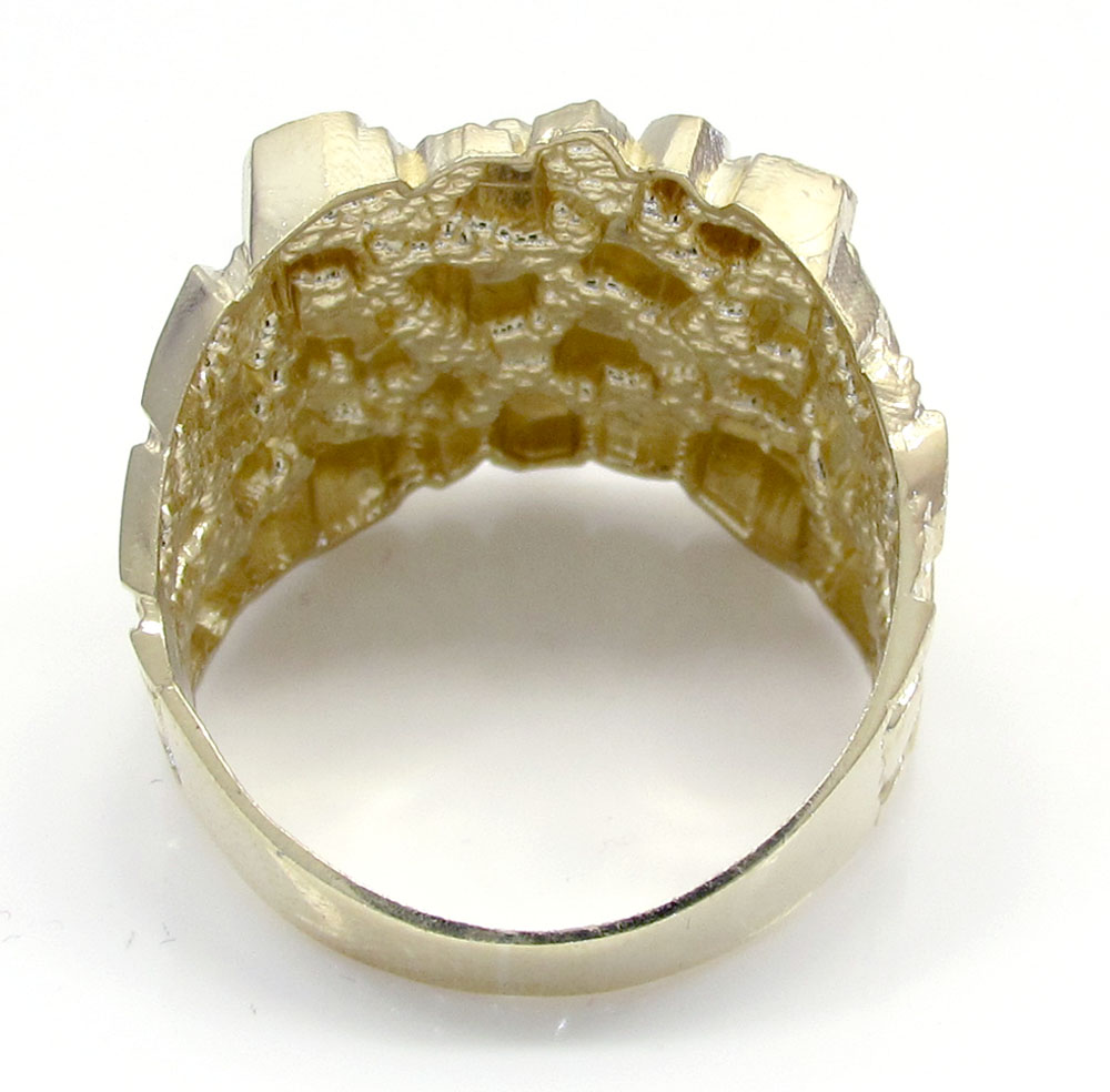 Mens 10k yellow gold large square nugget ring