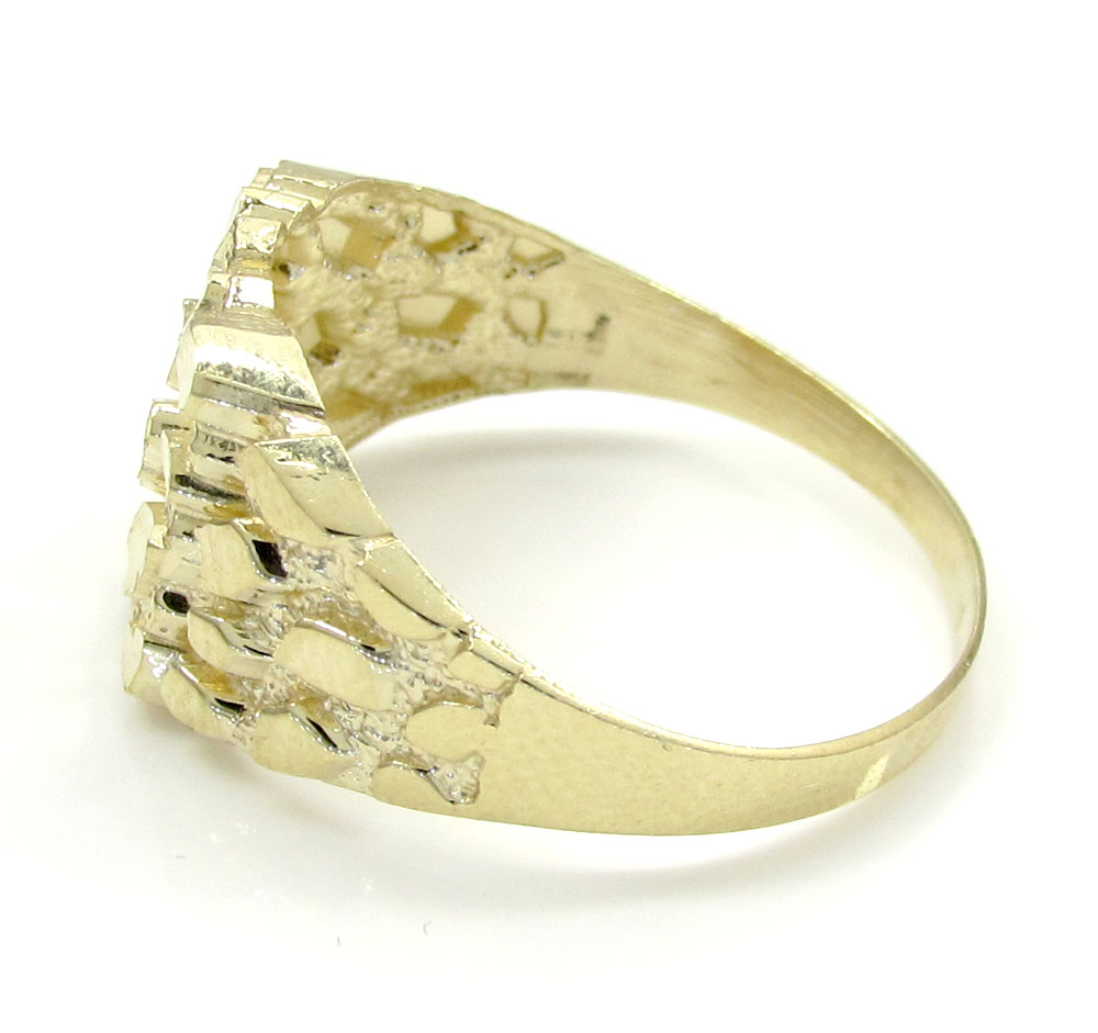 Mens 10k yellow gold small square nugget ring