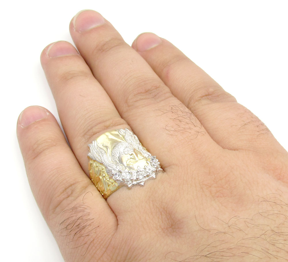 10k yellow gold two tone cz jesus face ring 0.30ct