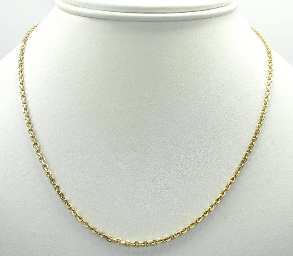 14k yellow gold solid tight link cable chain 22 inch 2.50mm