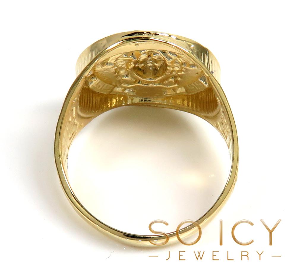 Mens 10k yellow gold oval medusa ring