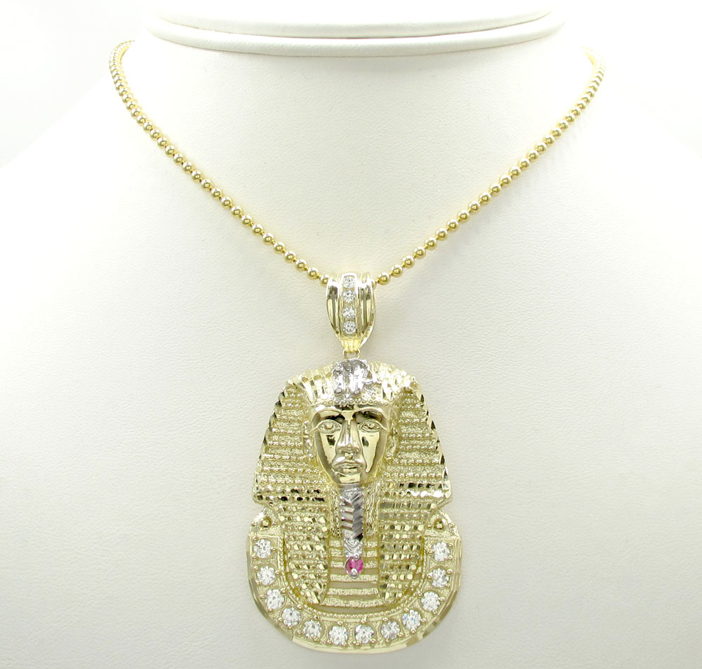 10k yellow gold large cz king tut pharaoh head pendant 0.70ct