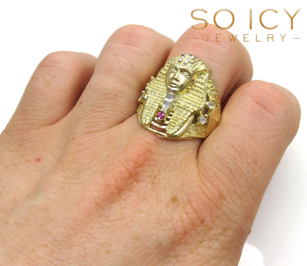 10k yellow gold large cz king tut pharaoh head ring 0.15ct