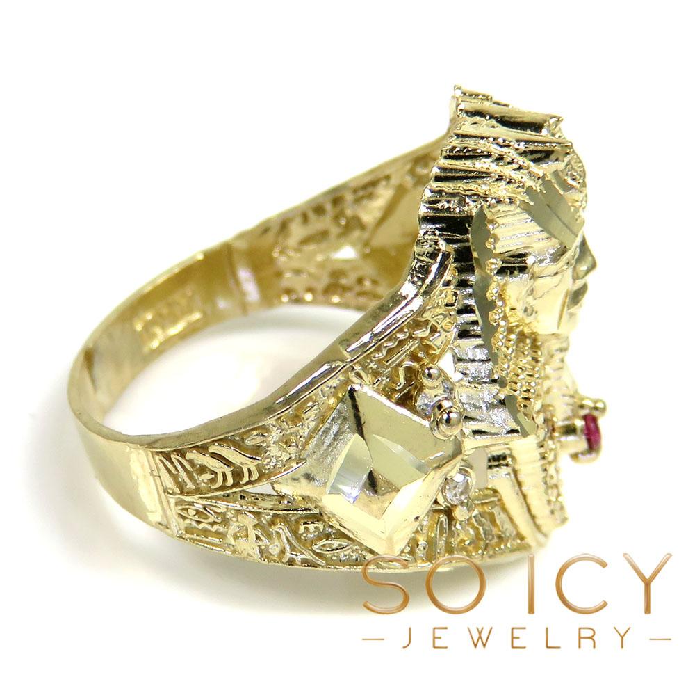 10k yellow gold medium cz king tut pharaoh head ring 0.10ct