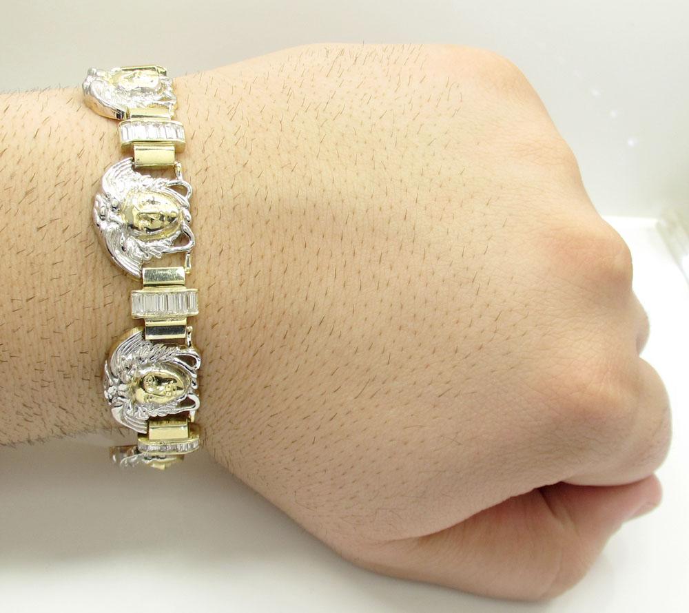 10k yellow two tone gold medusa head bracelet 9 inch 2.80ct