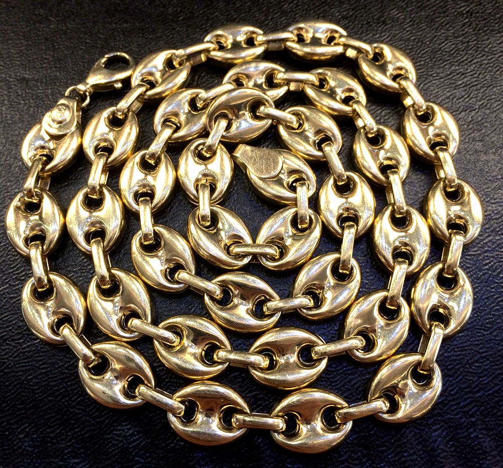14k yellow gold gucci puff link chain 26 inches 13mm