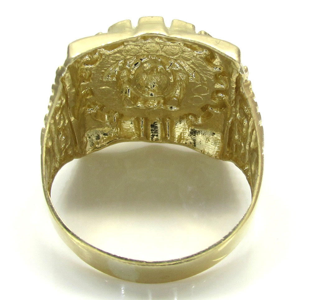 10k yellow gold medusa ring 8 gram