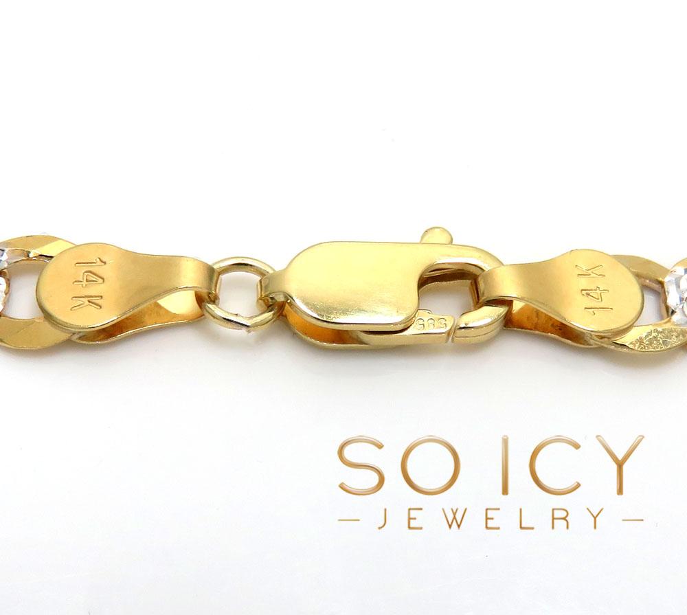 14k yellow gold diamond cut cuban bracelet 8.25 inch 5.75mm