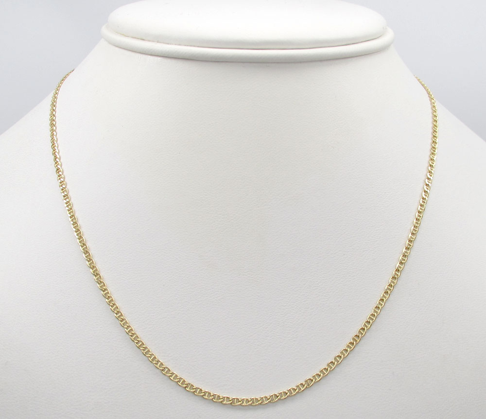 10k yellow gold skinny puffed mariner chain 16-18 inch 2mm