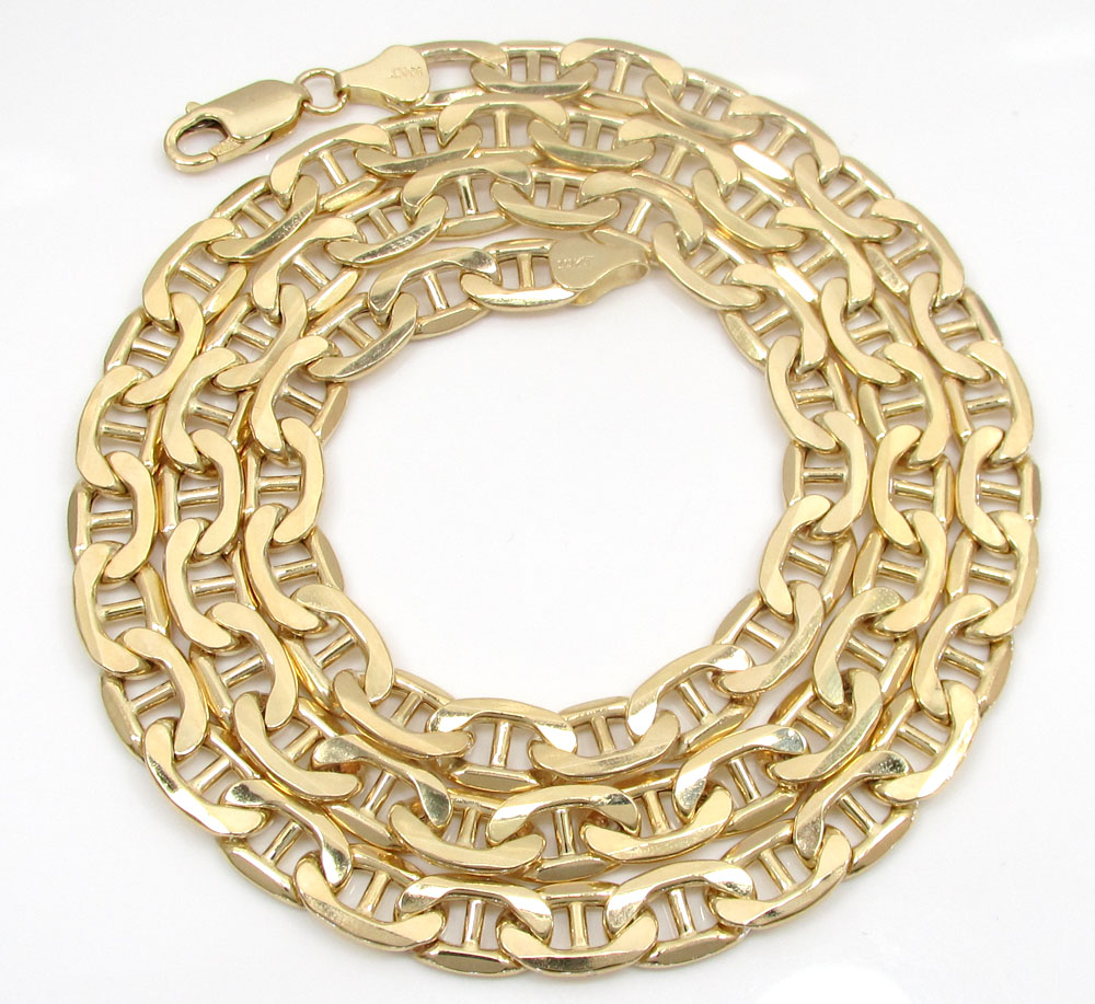 10k yellow gold puffed mariner chain 24-30 inch 7.2mm