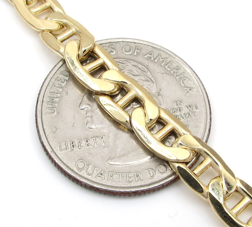 10k yellow gold puffed mariner chain 20-26 inch 6.30mm