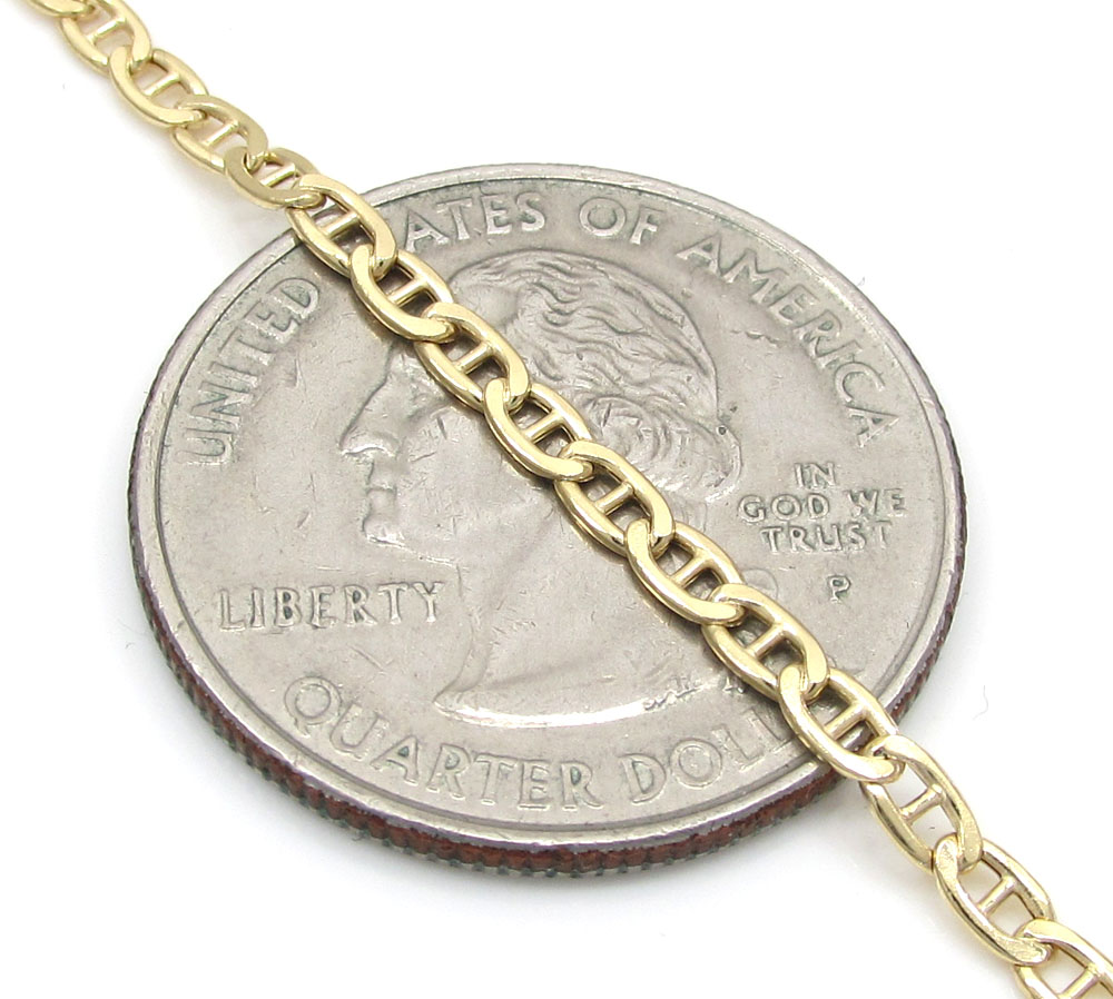 10k yellow gold skinny puffed mariner chain 20-26 inch 2.50mm