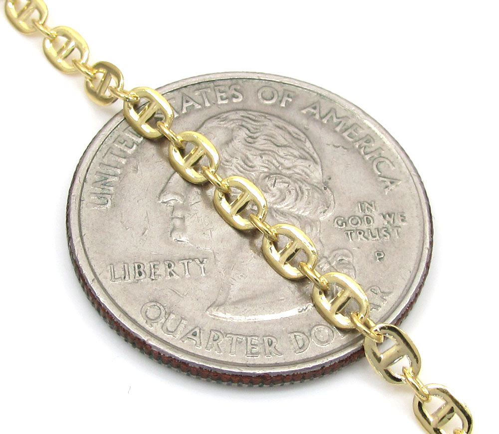10k yellow gold puffed gucci solid chain 16-20 inch 3mm