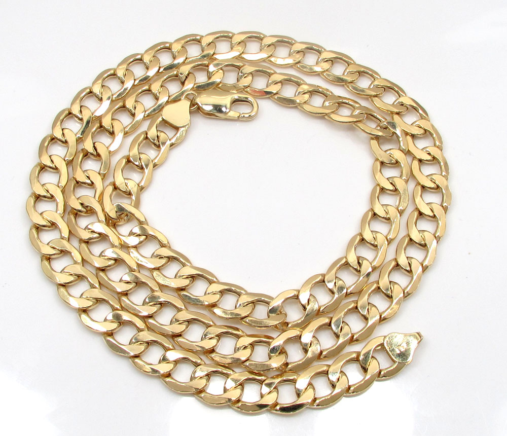 10k yellow gold thick hollow cuban chin 24-26 inch 8.70mm