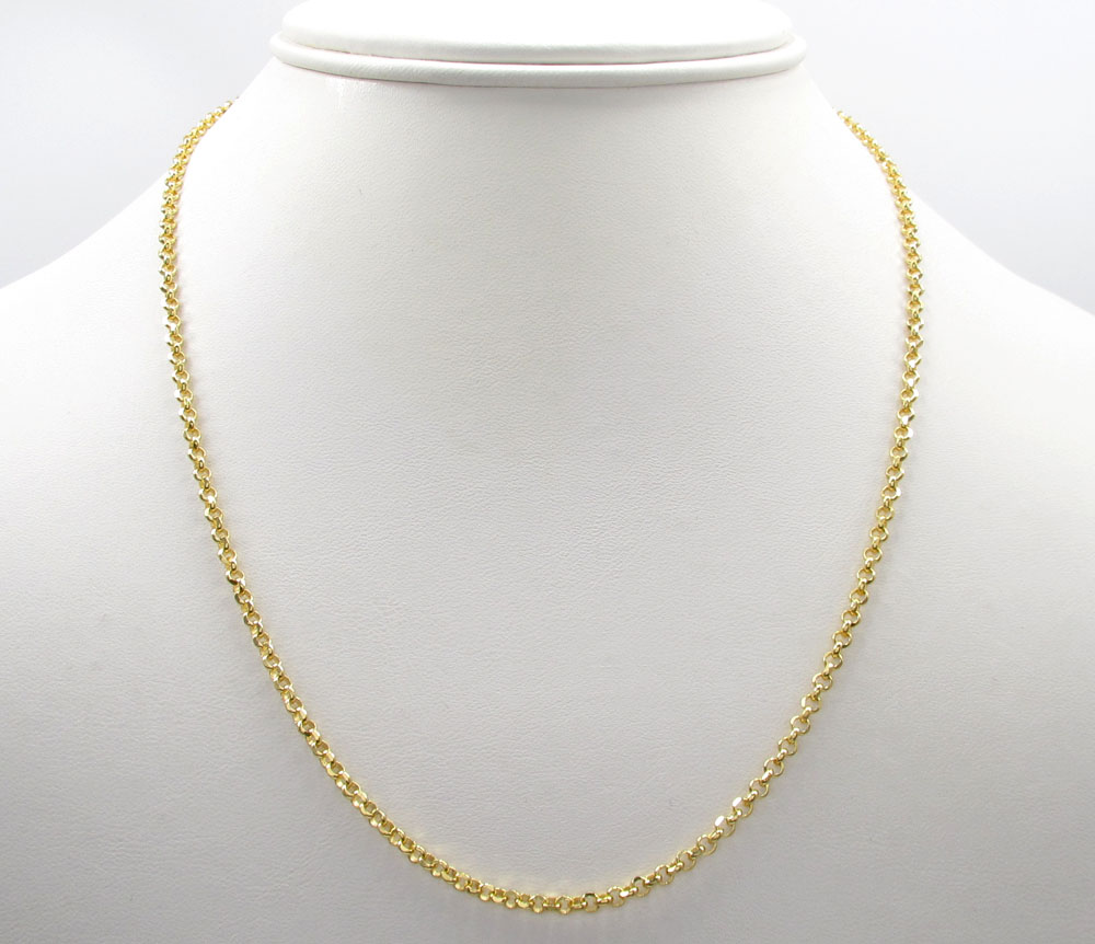 10k yellow gold hollow rolo chain 18-22 inch 2.5mm