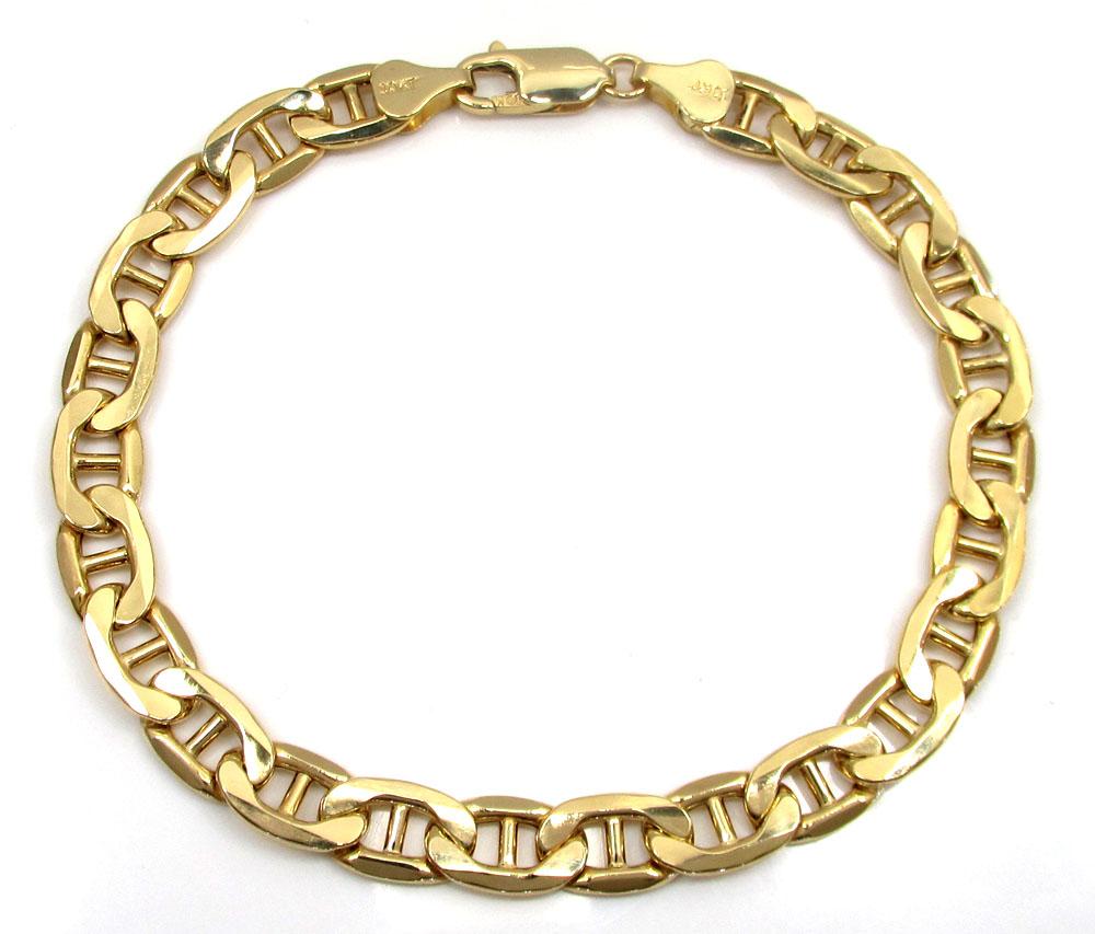 10k yellow gold puffed mariner bracelet 8 inch 7mm
