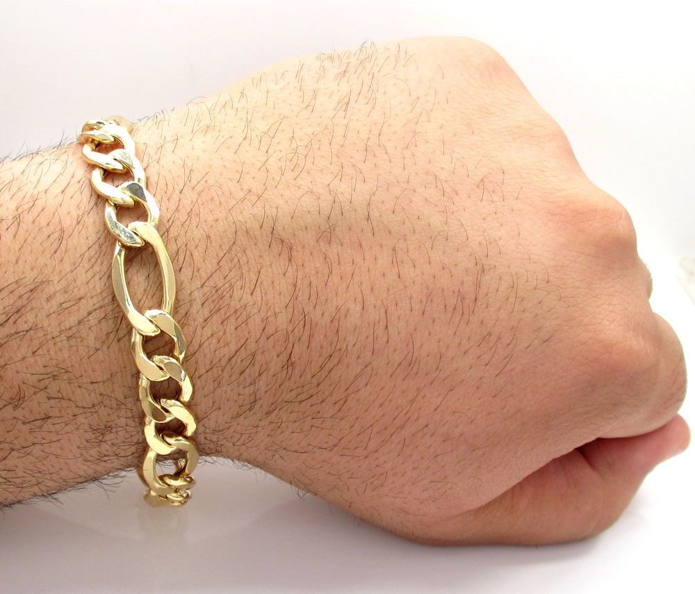 10k yellow gold thick hollow figaro bracelet 9 inch 11mm