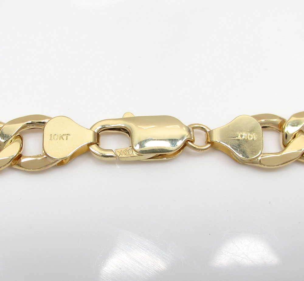 10k yellow gold thick hollow cuban bracelet 9.25 inch 8.20mm