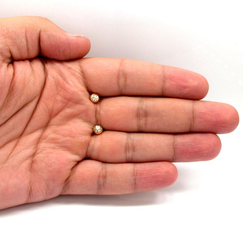 14k yellow gold diamond cut 6mm sphere earrings