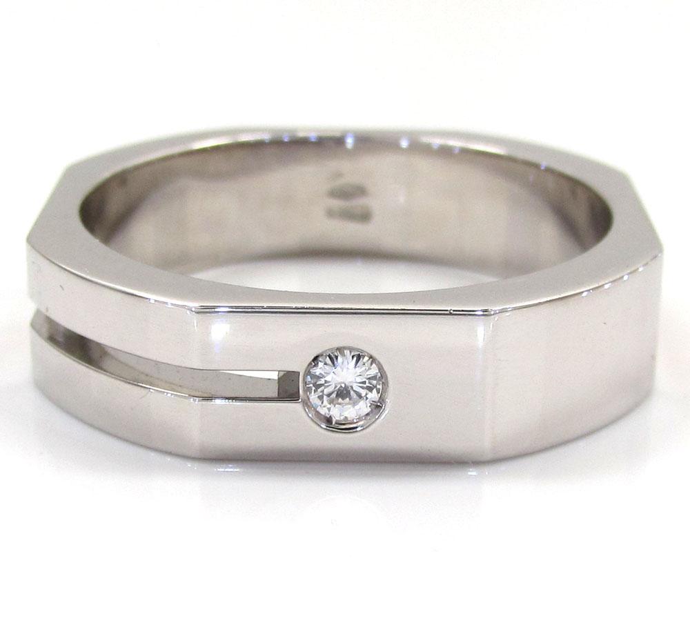 Mens baraka 18k white gold diamond hexagon ring 0.07ct