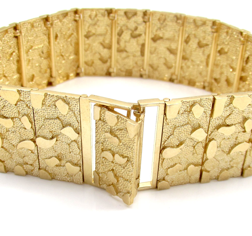10k yellow gold solid xl nugget bracelet 8.50 inch